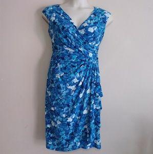 Chaps Blue Floral Ruched Faux Wrap Dress